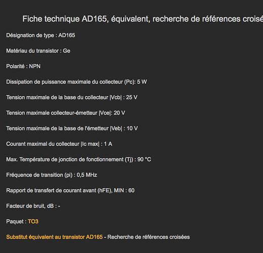 AD 165 NPN DATA