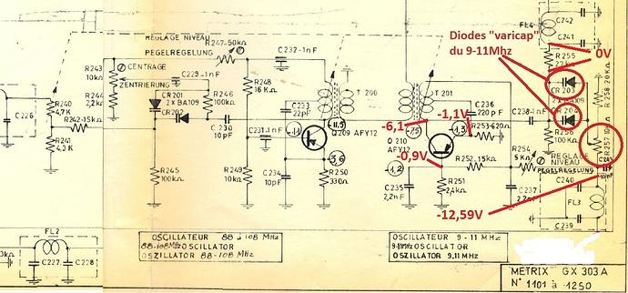 Schéma oscillateur 9-11Mhz GX 303 A